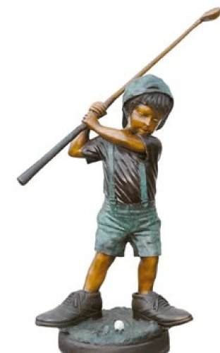Small Boy Playing Golf Solid American Bronze Jumbo Size Statue Sculpture