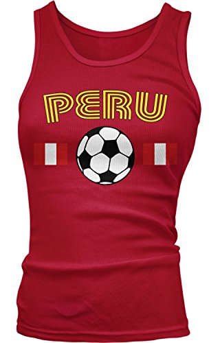 Amdesco Junior's Peru Soccer, Peruvian Football Pride Tank Top, Red Medium (Juniors Top Tank Pride)