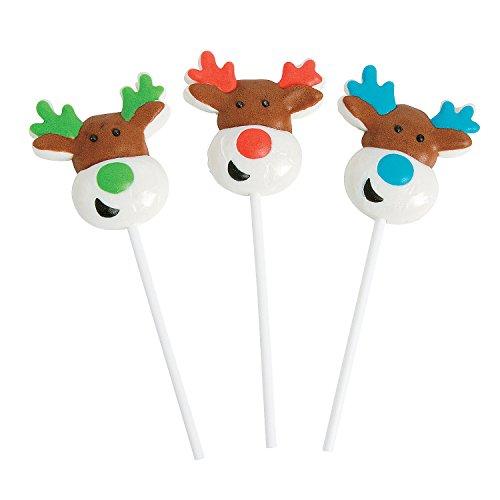Reindeer Character Holiday Christmas Suckers - 12 Piece