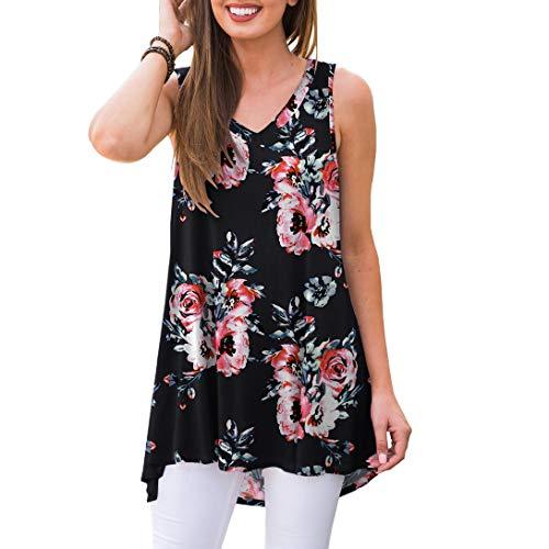 - AWULIFFAN Women's Summer Sleeveless V-Neck T-Shirt Short Sleeve Sleepwear Tunic Tops Blouse Shirts (Flower Black,XL)