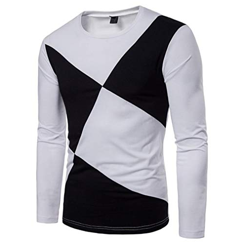 Limsea 2018 Men's Casual Long Sleeve Patchwork Slim T Shirt Pullover Top - Ornament Spider Hood
