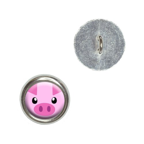 Pig Face - Closeup Farm Animal Metal Craft Sewing Novelty Buttons - Set of 4