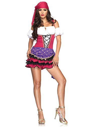 Leg Avenue Women's 3 Piece Gypsy Costume, Black/White, Small/Medium -