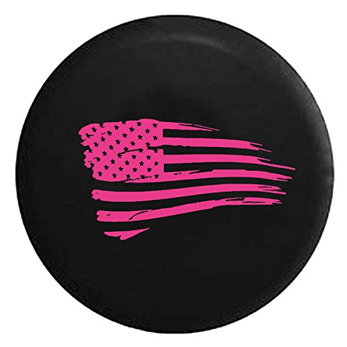 Waving American Tattered Flag Military Spare Jeep Wrangler Camper SUV Tire Cover Pink Ink 31 in
