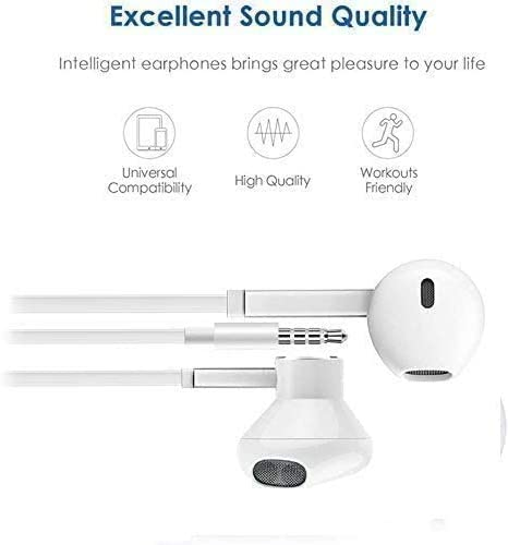 3.5mm in-Ear Wired Noise Cancellation Earbuds/Earphones/Headphones with Remote & Micphone Compatible with iPhone 6s plus/6/5s/5c/Pad/S10 Android All 3.5 mm Audio Devices (2 Pack)-White 41RRL9IRJNL