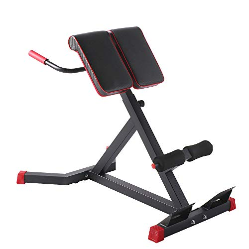 sportsroyals Adjustable Roman Chair -A Hyper Ab Bench for Ab/Back Extension/dip Station Multi-Workout Home Gym, 440lbs (Black & Red) (Best Multi Station Home Gym)