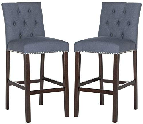(Safavieh Home Collection Norah Navy and Espresso Barstool (Set of 2))