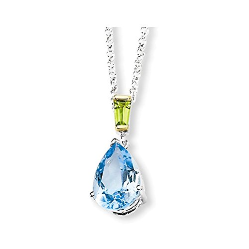 Sterling Silver & 14K Sky Blue Topaz and Peridot Necklace