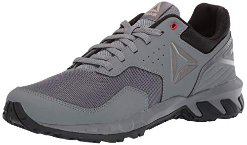 (Reebok Men's Ridgerider Trail 4.0, True Grey/Black/Alloy Pewter/red/Light Sand, 12 M US)