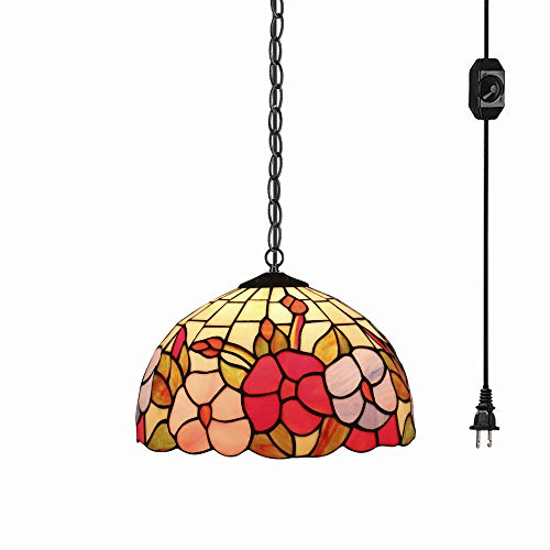 (STGLIGHTING Tiffany Baroque Style Glass Lampshade Ceiling Lamp Colorful Chandelier with 15ft Plug-in UL On/Off Dimmer Switch Cord for Bedroom Background Wall Dining Room Bulbs Not Included)