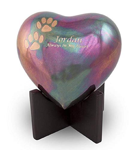 Heart Pet Cremation Urn with Paw Prints Accents for Cremation Ashes, Holds Up to 20 Cu. in, Brass, Stand Included, Engraving Available