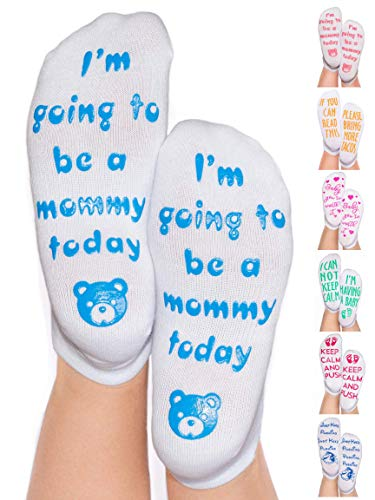 DonnaElite Labor & Delivery Inspirational Non Skid Push Maternity Socks | Luxury Combed Cotton Non Slip Grip for Pregnancy and Hospital Bag (Light Blue - I'm Going to Be A Mommy Today) (Best Hospitals For Labor And Delivery)
