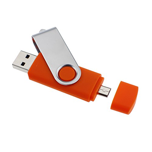 Litop® 64GB OTG Swivel Double Plugs USB Flash Drive U-Disk USB Memory Disk for Android Smart Phone Samsung Galaxy S4 Also MOTO XOOM NOKIA N8 E7 Together Compatible with PC Notebook Plus 1 Neck Strap and 1 Wrist Strap as a Gift(64GB, Silver Color and Orange)