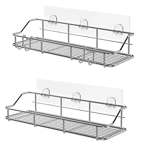 Adhesive Bathroom Shelf Organizer Shower Caddy Kitchen Storage Rack Wall Mounted No -