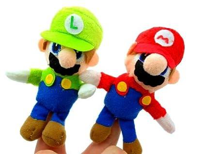 amazon com super mario brothers plush mario luigi finger puppets