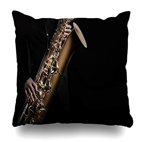(Ahawoso Throw Pillow Cover Acoustic Saxophonist Saxophone Player Jazz Music Instrument Sax Baritone Artist Artistic Band Design Home Decor Pillow Case Square Size 16x16 Inches Zippered Pillowcase)