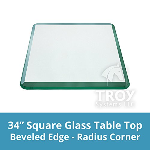 34' Wood Top Set (TroySys Square 1/2 Inch Thick Bevel Polished Annealed Glass Table Top Radius, 34