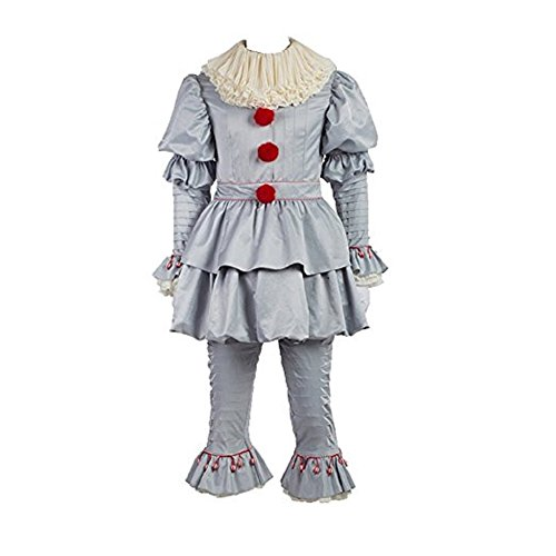 Pennywise Costume Halloween Deluxe Clown Cosplay Costume Outfit It Movie for Adults Kids (Male (Pennywise Costumes)
