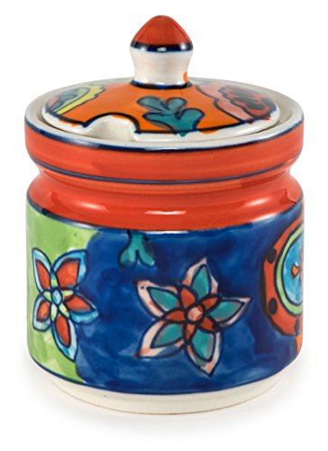 - Hand-Painted Paisley Ceramic Sugar Bowl - 3.25