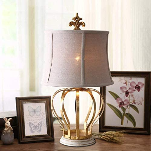 ASDFGH Bedside Table Lamp,Retro Gold Foil Wrought Iron Night Desk Light, Table Lamps for Bedroom Living Room Indoor Nightstand Decorative