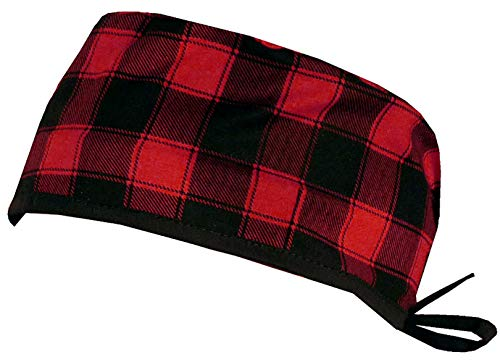 Mens and Womens Surgical Scrub Cap - Christmas Buffalo Check w/Black Ties (NOT Flannel)