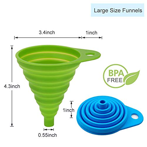 Silicone Collapsible Funnel Set of 4, 2 Small and 2 Large, Foldable Kitchen Funnel for Water Bottle Liquid Powder Transfer, Food Grade BPA free, Dishwasher Safe