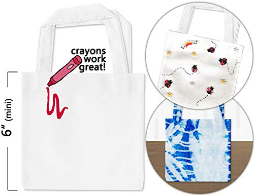 Set of 12 Mini Tote Bags with Handles for Crafts - White 6