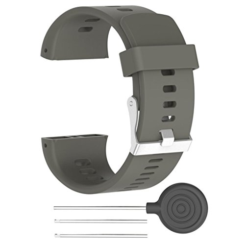 (For POLAR V800 Watch,GBSELL Silicone Rubber Watch Band Wrist Strap Sport Replacement (Gray))