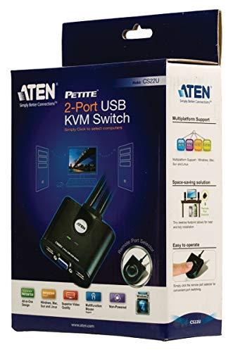 2 Puertos USB Conmutador KVM ATEN CS22U Color Negro