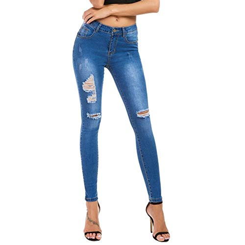 Jeggings Las Élastique Lápiz Fashion Rasgados Estirar De Azul Bolsillos Agujeros Claro Botón Ajustados Alta Mezclilla Cintura Delanteros Jeans Pantalones Mujeres qnOEAAz
