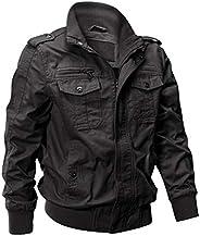 EKLENTSON Men's Cotton Lightweight Multi Pockets Zip Front Stand Collar Military Jackets Windbre