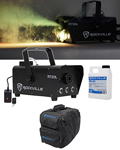 Rockville R720L Fog/Smoke Machine w/Remote+Fluid+Multi Color LED's+Carry Bag -