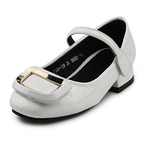 Chiximaxu Kid Dress Sandals Low Heel Mary Jane Buckle Pumps for Little Girl,White,Little Kid Size 10.5 by Chiximaxu
