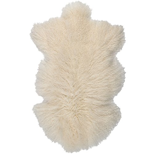 Accent Throw Rug (Sova Home Genuine Mongolian Lamb Rug (2' x 3', Natural) | Fur Throw Natural Fur Accent for Chair Bedroom Living Room Cottage Cabin)