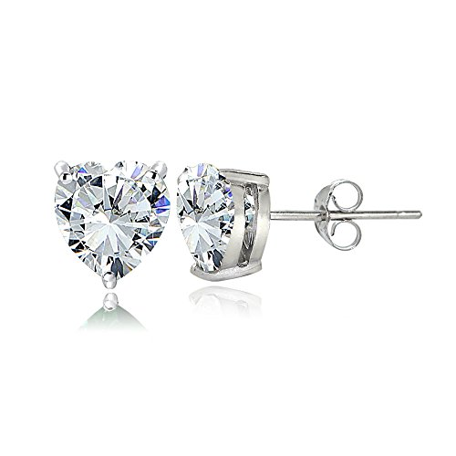 Sterling Silver Cubic Zirconia 6mm Heart Stud Earrings
