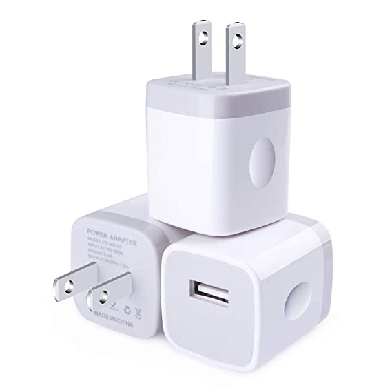 USB Wall Charger, CableLovers 1A/5V 3-Pack Travel USB Plug Charging Block Brick, Charger Power Adapter Cube Compatible with iPhone X/8/7/6 Plus 5/4S, ...