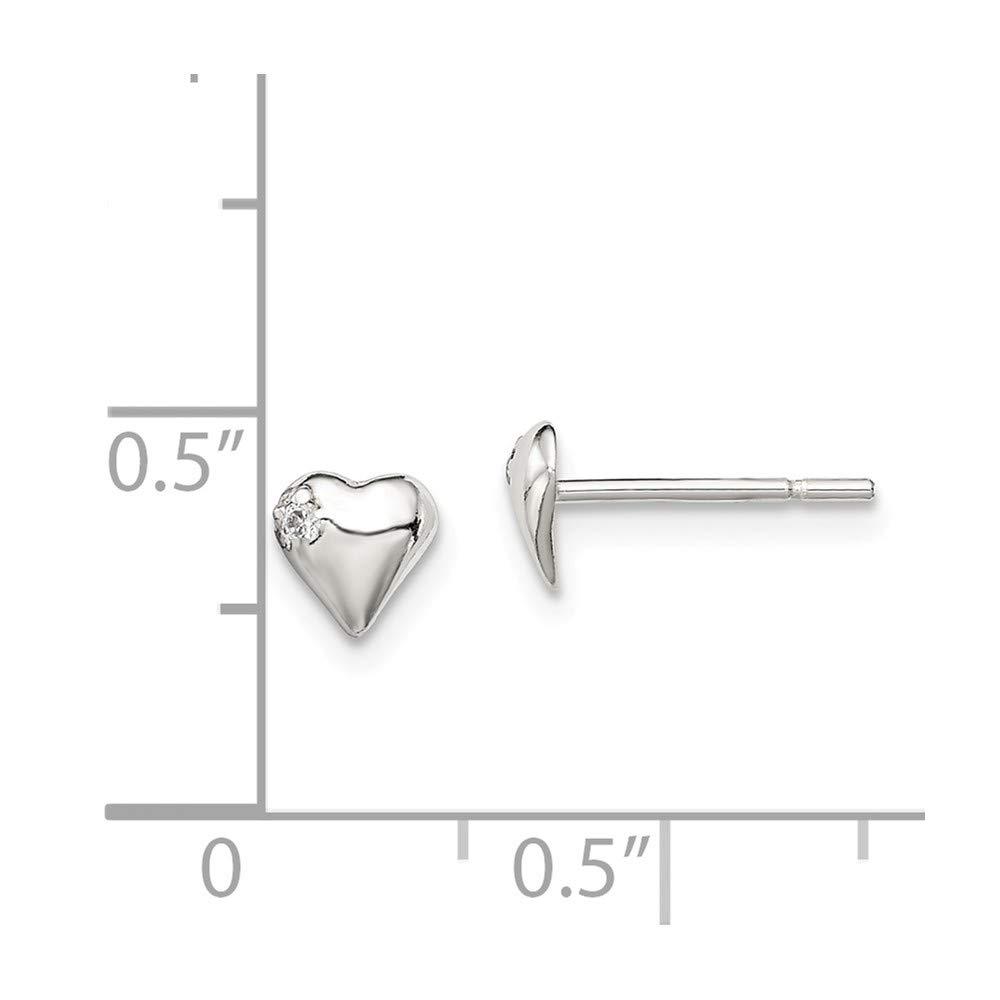 Sterling Silver Jewelry Button Earrings Solid 5 mm 5 mm Heart CZ Post Earrings