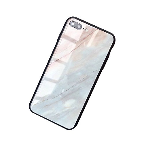 iPhone 7 Plus/iphone 8 Plus Case Luxury Marble Patterned Tempered Glass Back Cover with Soft TPU Bumper Frame Shock Absorption 360 Degree Full Body Strong Protection Extreme Slim Grey by BONTOUJOUR