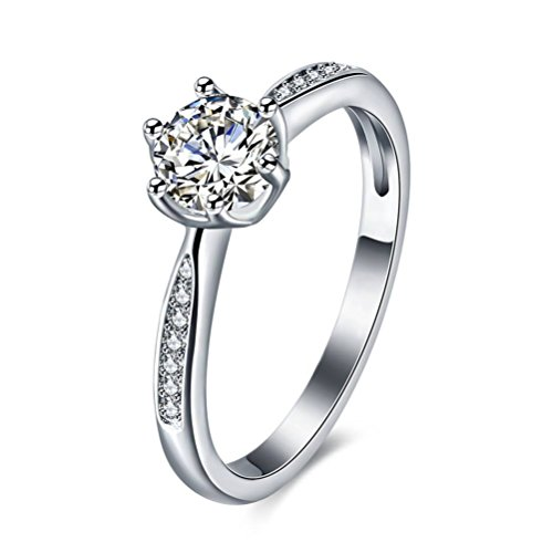 6 Prong Ring (JoGray Women's 18K Platinum Plated 1.25CT Triangle CZ Solitaire 6-Prong Ring US8)