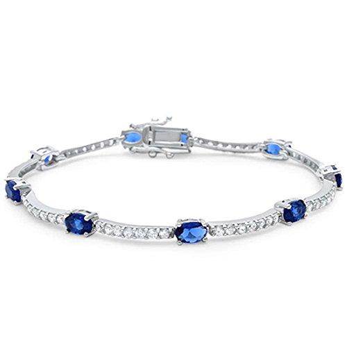 Baguette Blue Sapphire Bracelet - Fashion Bracelet Oval Simulated Blue Sapphire Round Cubic Zirconia 925 Sterling Silver