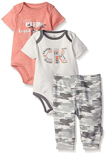 Calvin Klein Baby Boys' 3 Piece Bodysuit and Pant Set, Gray, 3-6 Months