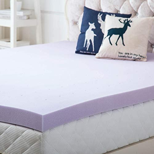 Hou Hai 3 Inch Lavender Memory Foam Mattress Topper Bed Topper- Ventilated Design Comfortable Mattress Support for Side Back Stomach Sleepers – King Size