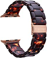 V-MORO Compatible iWatch Band Women Men- Fashion Resin iWatch Band Bracelet Metal Stainless Steel Rose Gold Buckle iWatch...