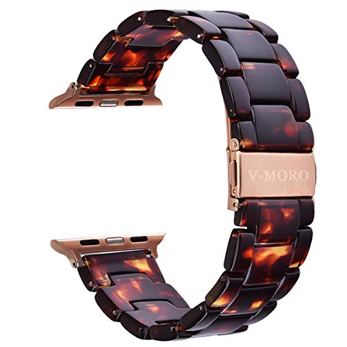 V-MORO Resin Strap Compatible with Apple Watch Band 38mm 40mm Series 4/3/2/1 Women Men with Stainless Steel Buckle, iWatch Replacement Wristband Strap(Tortoise-Tone, 38mm)