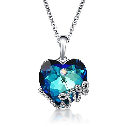 (GuqiGuli Blue Crystal Heart Pendant Necklace Made with Swarovski Crystals, 18