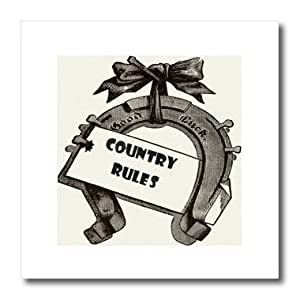 ht_179463_3 Florene - Country Life - image of sepia horse shoe with words country rules - Iron on Heat Transfers - 10x10 Iron on Heat Transfer for White Material