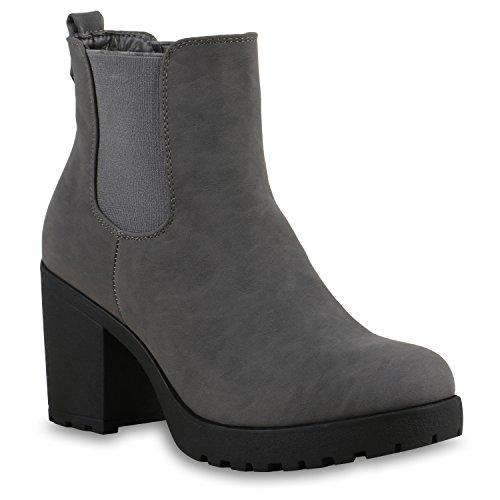 Stiefelparadies Damen Stiefeletten Chelsea Boots Blockabsatz Profilsohle Schuhe Flandell Grau Autol