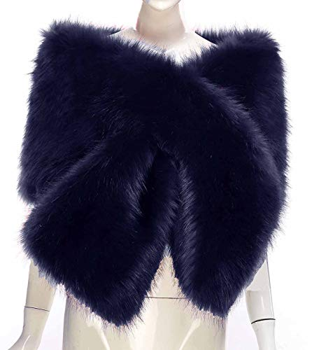 Changuan Faux Fur Shawl Wrap Stole Shrug Winter Bridal Wedding Cover Up for Wedding/Party/Evening ()