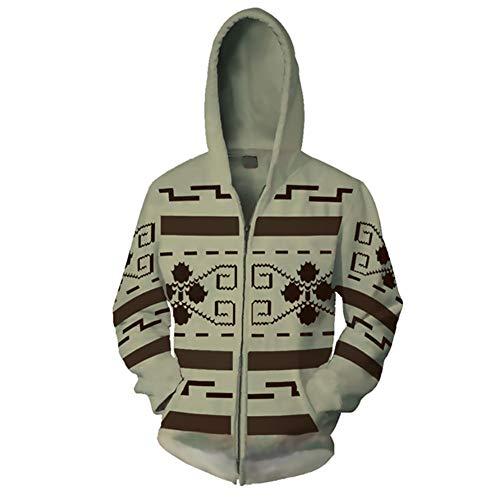 (Gurbanton The Big Lebowski Jeffrey Hoodie The Dude Costume 3D Printed Zip Up Sweatshirt for Halloween Holiday Party (XL))