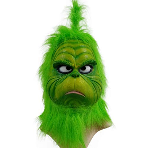 (CHENLIN Grinch Mask Costume Suit with Green Hair for Cosplay)